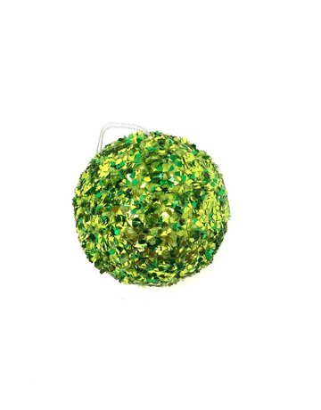 "6"" Sequin Ball Green Ornament"