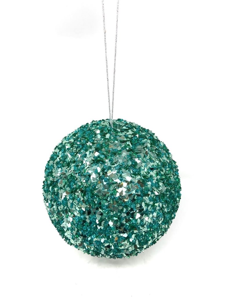 "8"" Aqua Sequin Ball Ornament"