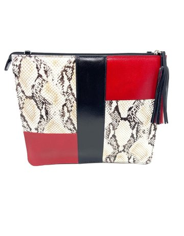 Sudi Clutch in Red, Black and Snake