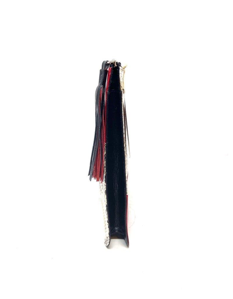 Sudi Clutch in Red, Black and Snake