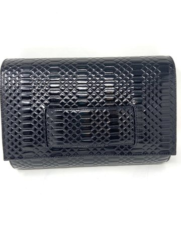 KD Embossed Black Clutch