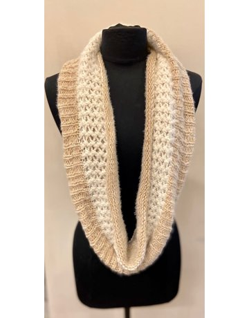 Infinity Scarf, Beige & White