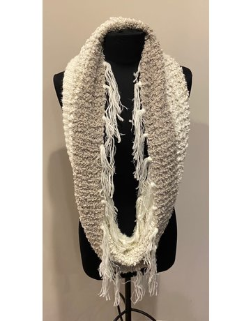 Infinity Scarf with Fringe, Taupe