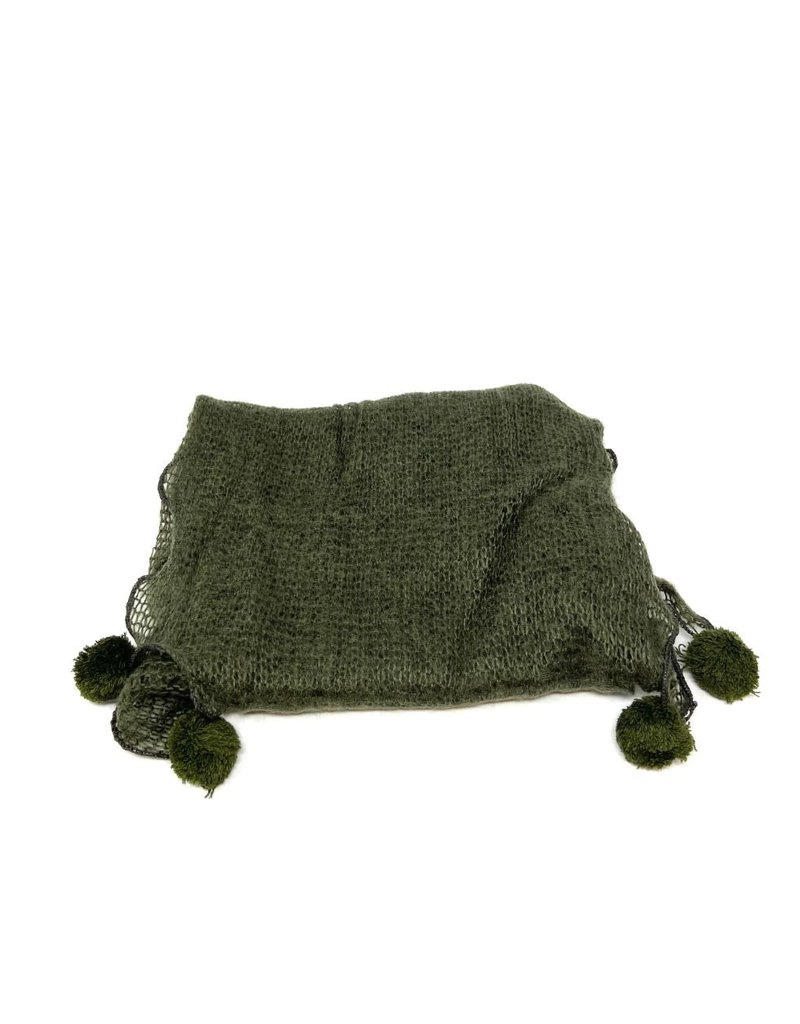 Scarf with PomPoms, Olive