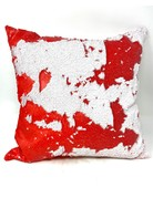 """18"""" Sequin Decorative Pillow, Red & White"""