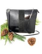 Sudi Clutch, Black Leather & Suede