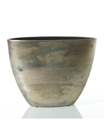 "17"" Zelda Ceramic Boat Container, Bronze"