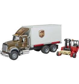 Bruder MACK Granite UPS logistcs truck w forklift