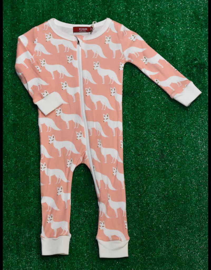 Milkbarn Zipper Romper: Pink Fox