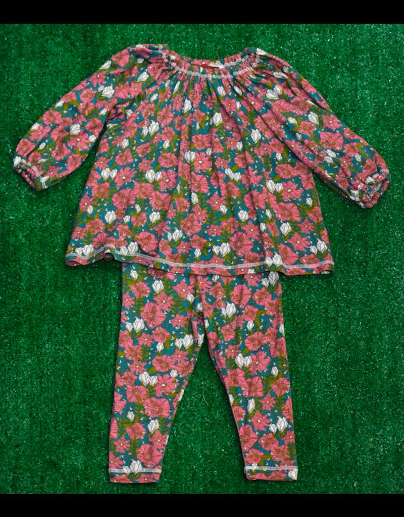 Milkbarn Ls Dress Set Tl Flor 3-6M