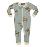Milkbarn Zipper Pajama: Blue Moose