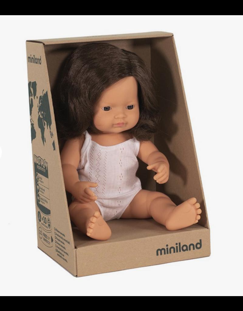 Miniland Baby Doll: Brunette Girl