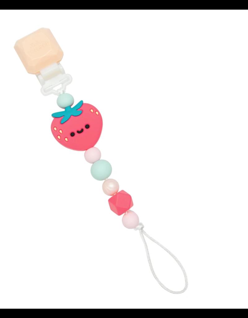 LouLou Lollipop Pacifier Clip: Strawberry
