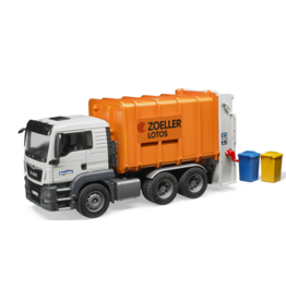Bruder MAN TGS Loading Garbage Truck: Orange