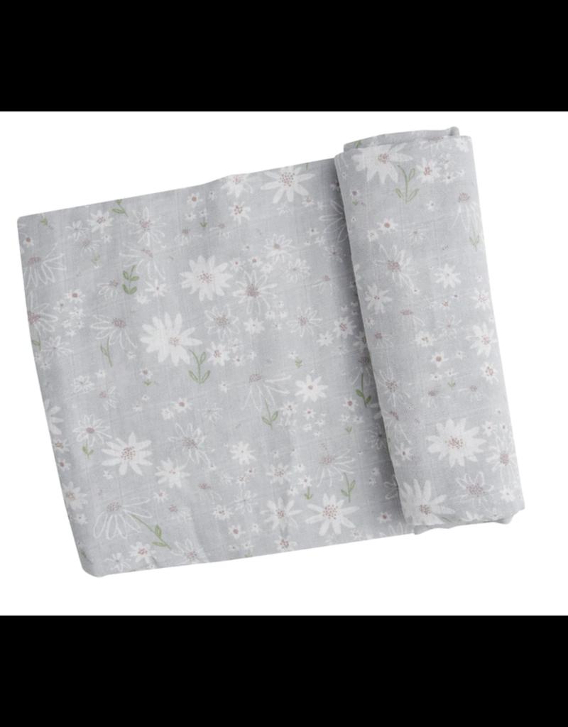Angel Dear Sweet Daisies Swaddle Blanket Grey