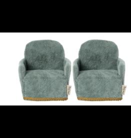 Maileg Mouse Chair Pair, Blue