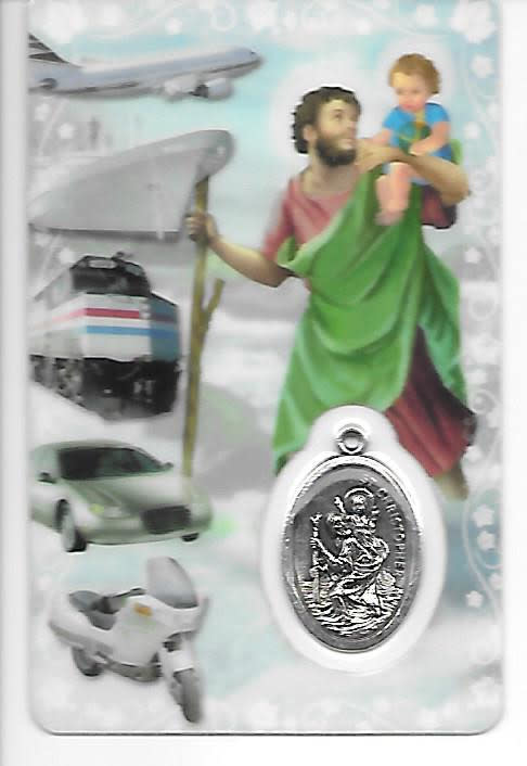 St. Christopher Card with Medal