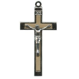 Small Metal Crucifix with Wooden Inset - Light Brown