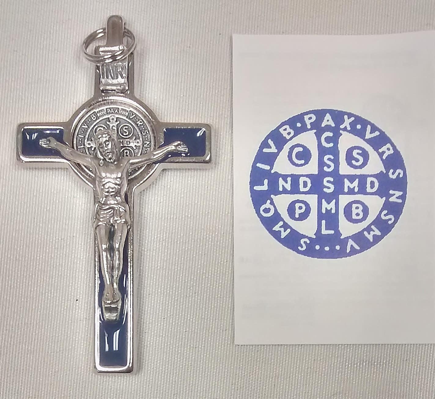 "3"" Benedictine Crucifix Blue Enamelled in Box"