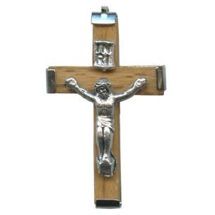 Small Wooden Crucifix with Metal Backing - Light Brown