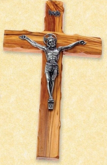 """Small Olive Wood Crucifix with Silver tone Corpus - 6"""""""