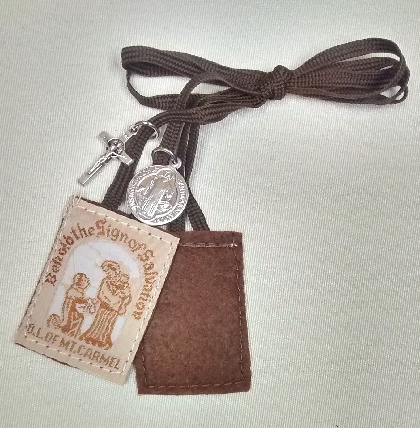 Brown Scapular with Benedictine Medal and Crucifix