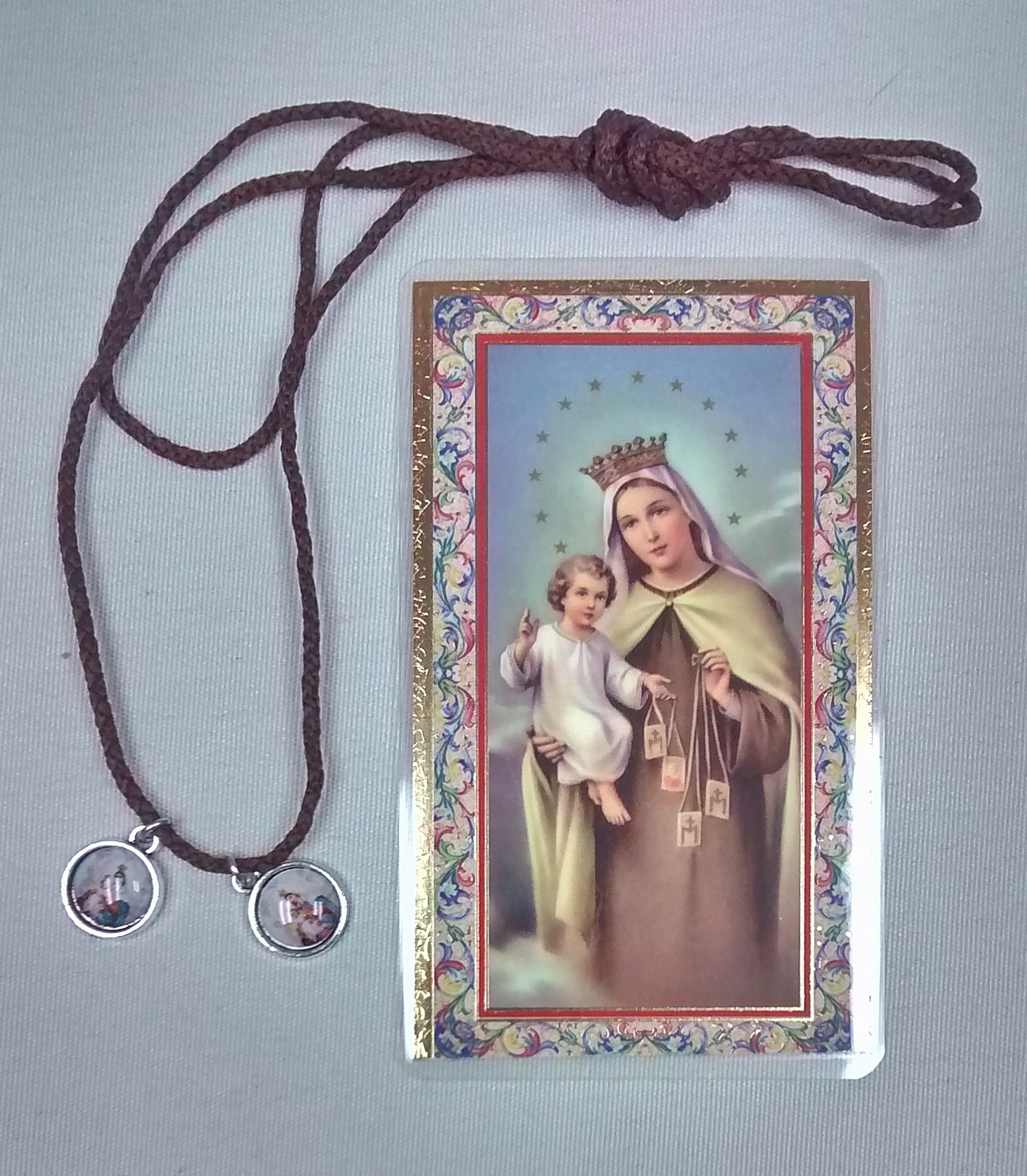Brown Cord Scapular with Medals and Prayer Card