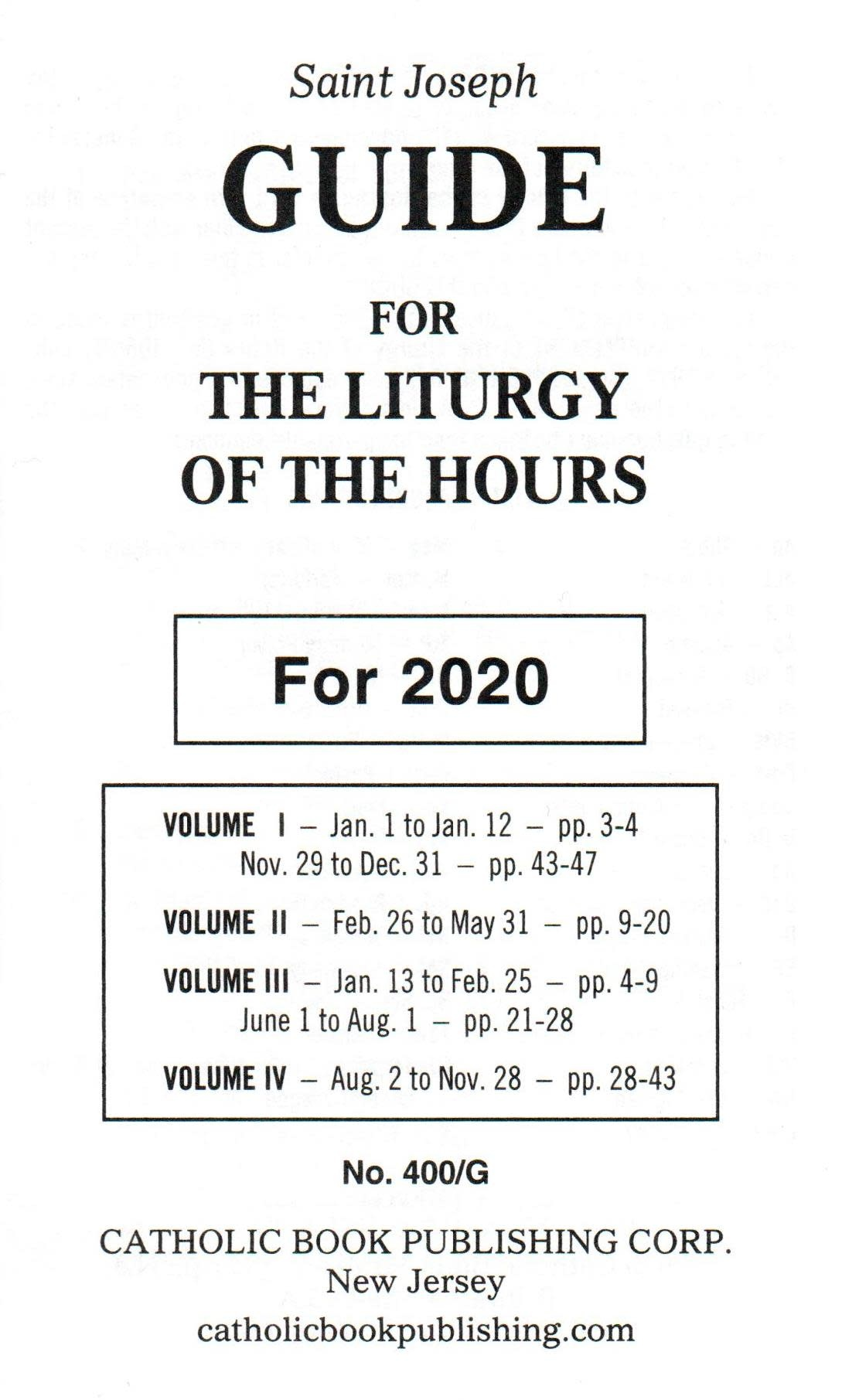 Saint Joseph Guide for The Liturgy of the Hours - 2020