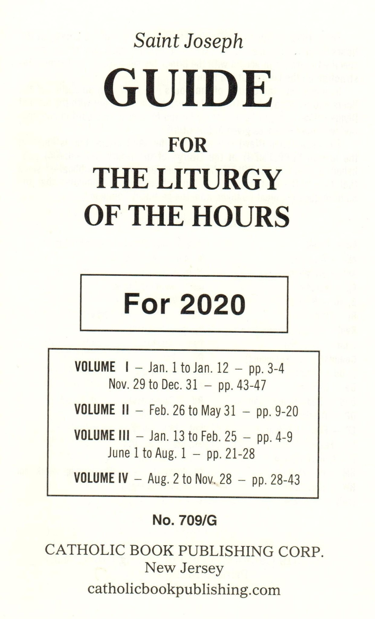 Saint Joseph Guide for The Liturgy of the Hours Large Print - 2020