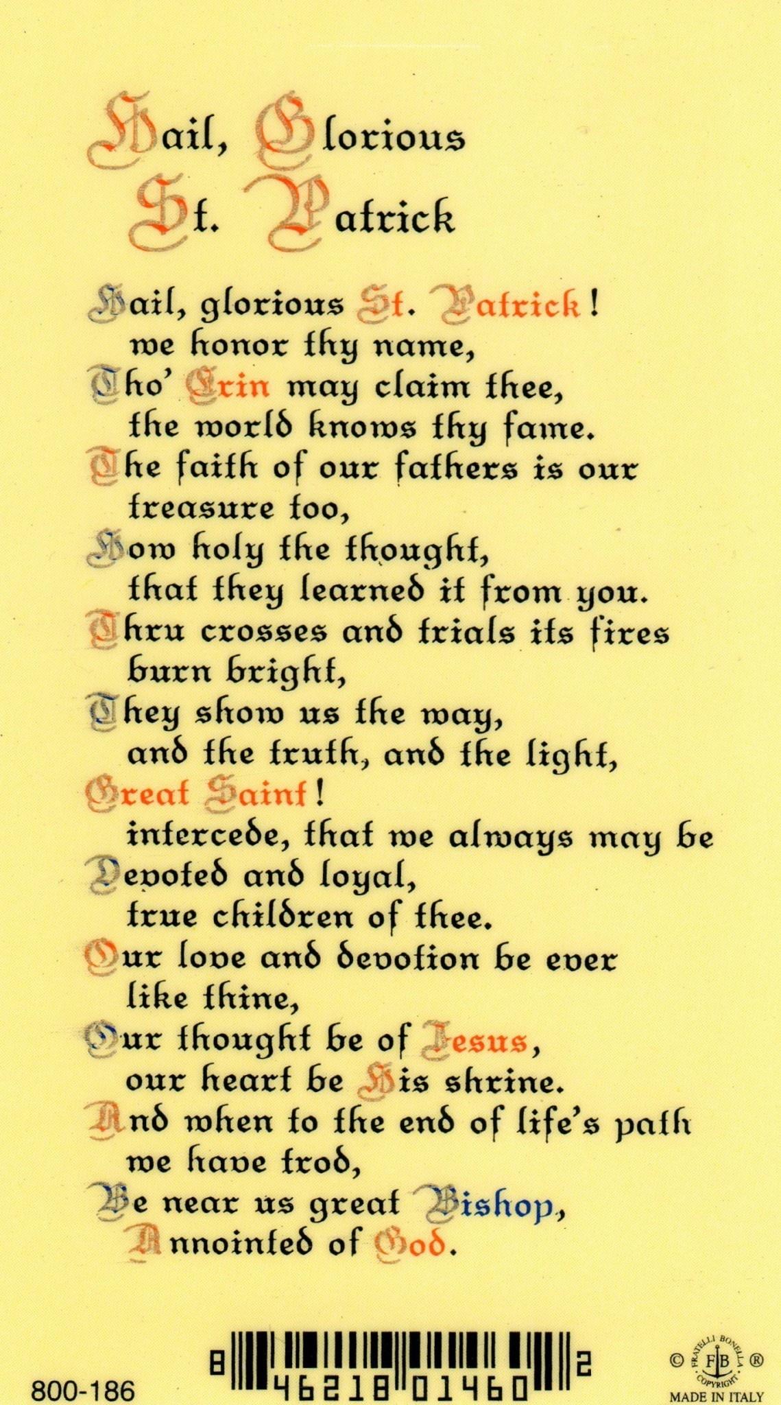 Hail, Glorious St. Patrick Prayer Card