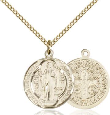 "GF Benedict Medal / SG 24"" Curb Chain"