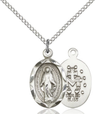 "SS Miraculous Medal / 18"" Curb Chain"