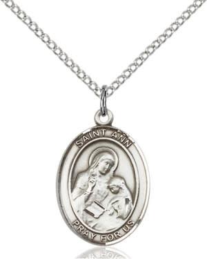"""SS St. Ann Oval Medal / 18"""" Curb Chain"""