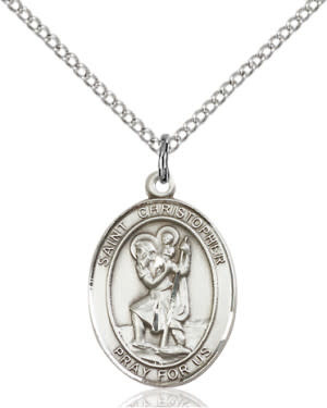 """SS St. Christopher Oval Medal / 18"""" Curb Chain"""