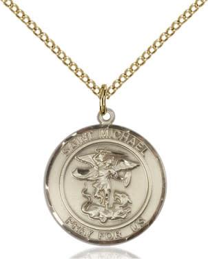 """GF St. Michael Round Medal / 24"""" Curb Chain"""