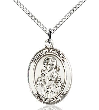 "SS St. Nicholas Oval Medal / 18"" Curb Chain"