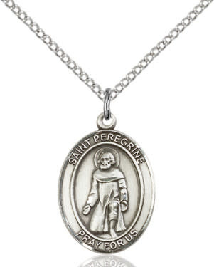 """SS St. Peregrine Oval Medal / 18"""" Curb Chain"""