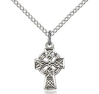 "SS Celtic Cross / 18"" Curb Chain"