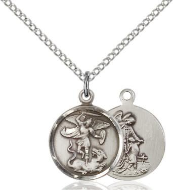 "SS St. Michael Medal / 18"" Curb Chain"