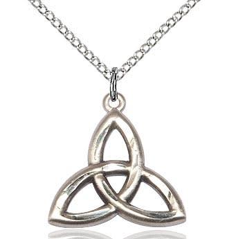 "SS Celtic Trinity Knot / 24"" Curb Chain"