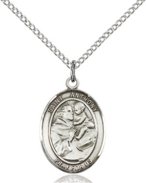 """SS St. Anthony Oval Medal / 18"""" Curb Chain"""