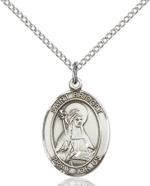 "SS St. Bridget of Sweden Oval Medal / 18"" Curb Chain"