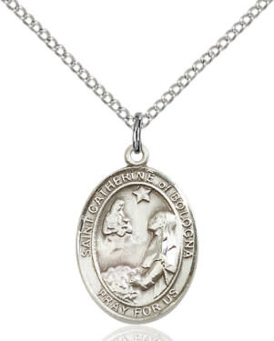 "SS St. Catherine of Bologna Oval Medal / 18"" Curb Chain"