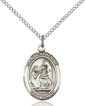 "SS St. Catherine of Siena Oval Medal / 18"" Curb Chain"