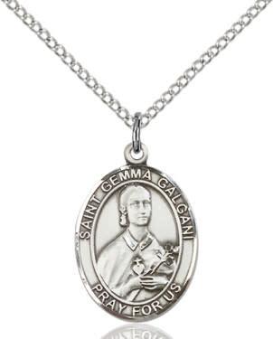 "SS St. Gemma Galgani Oval Medal / 18"" Curb Chain"