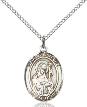 """SS St. Gertrude Oval Medal / 24"""" Curb Chain"""