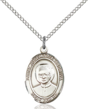 "SS St. Josemaria Escriva Oval Medal / 24"" Curb Chain"
