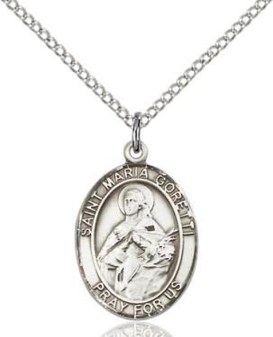 """SS St. Maria Goretti Oval Medal / 18"""" Curb Chain"""