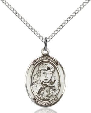 """SS St. Sarah Oval Medal / 18"""" Curb Chain"""
