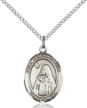 """SS St. Teresa of Avila Oval Medal / 18"""" Curb Chain"""
